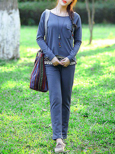 Casual Pocket Top and Solid Color Pants Three-Piece Suit For WomenWomen<br><br><br>Size: L<br>Color: BLUE