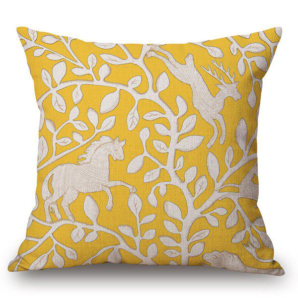 Casual Style Handpainted Horse Deer Leaf Pattern Pillow Case - YELLOW