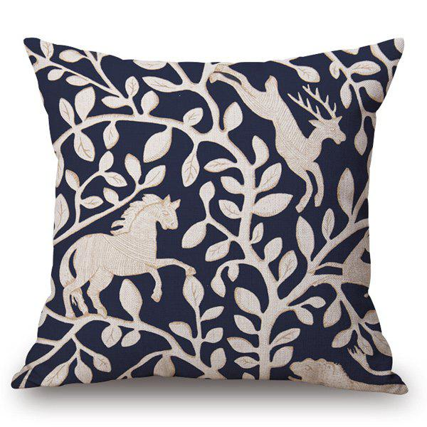 Casual Style Handpainted Horse Deer Leaf Pattern Pillow Case casual style handpainted birds and fence pattern pillow case