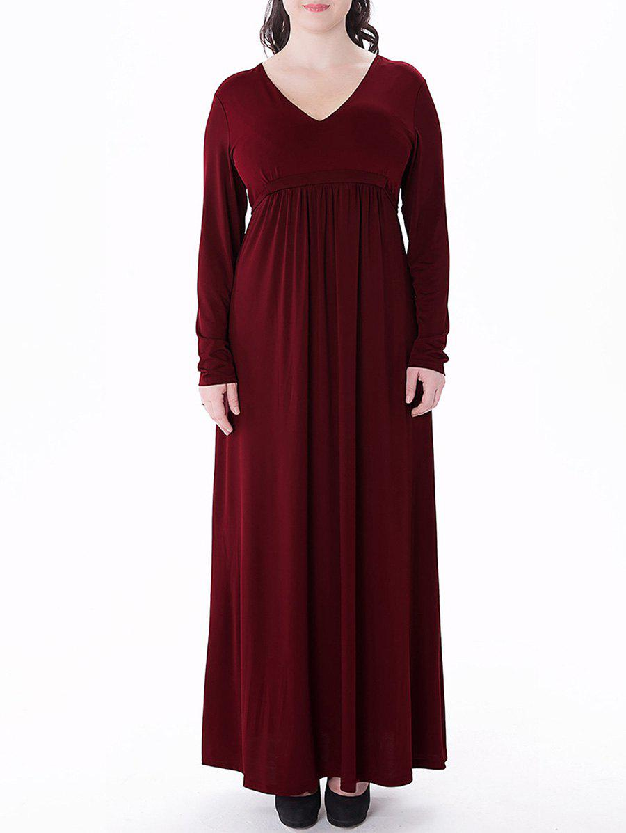 Plus Size Empire Waist Long Formal Dress - WINE RED 6XL