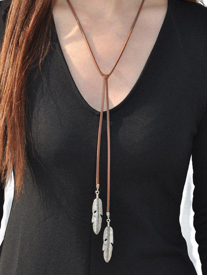 Faux Leather Alloy Leaf Necklace - SILVER