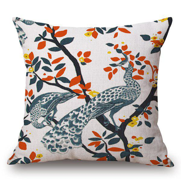 Casual Style Handpainted Peacock and Leaf Pattern Pillow Case - OFF WHITE