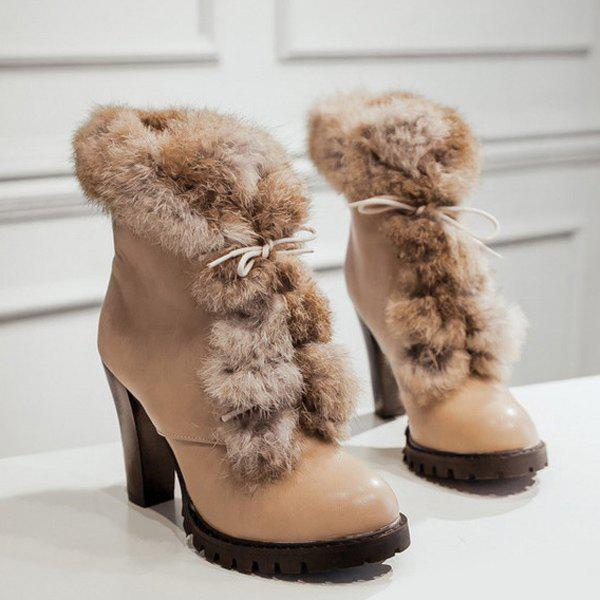 Faux Fur Chunky Heel Design Ankle Boots - KHAKI 37