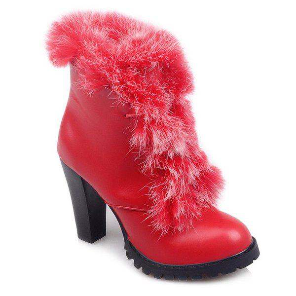 Faux Fur Chunky Heel Design Ankle BootsShoes<br><br><br>Size: 38<br>Color: RED