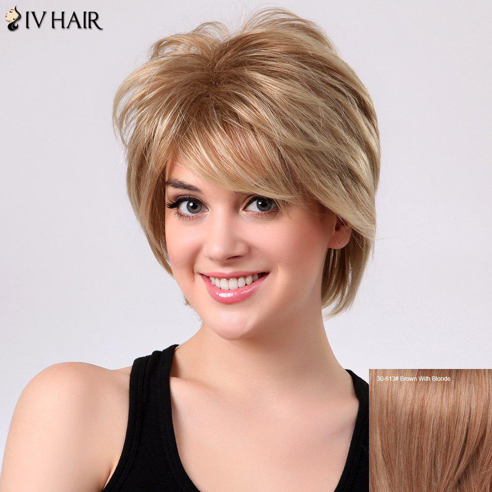 Fluffy Natural Straight Layered Siv Hair Side Bang Capless Human Hair Short Wig - BROWN/BLONDE