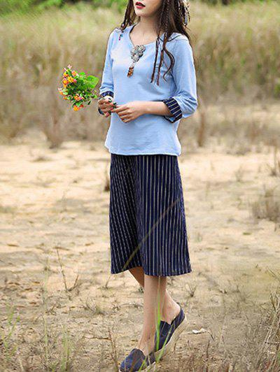 Retro Beaded Top and Striped Skirt Set For Women