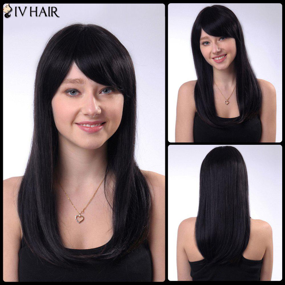 Human Hair Long Straight Side Bang Capless Siv Hair Wig - JET BLACK