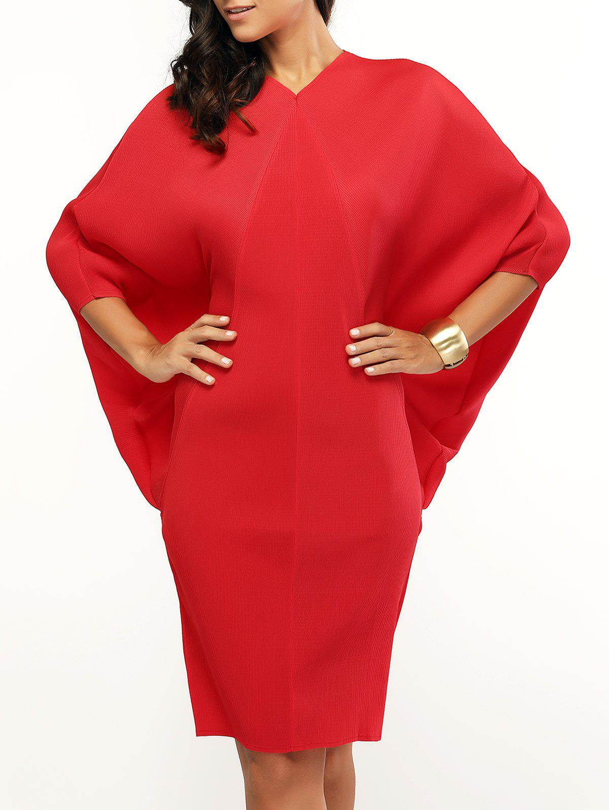 Bat Sleeve Dress - RED ONE SIZE