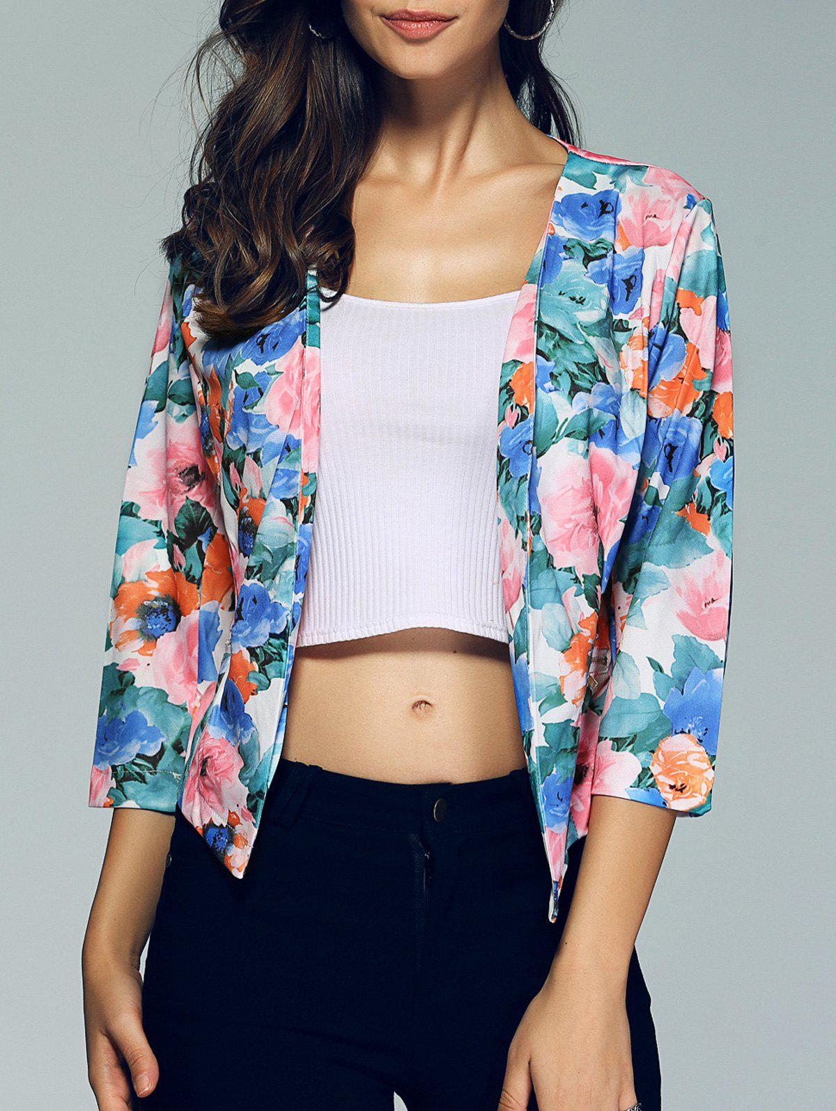 Work 3/4 Sleeve  Floral Print Blazer - COLORMIX XL