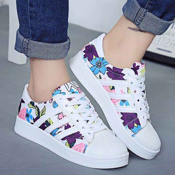 Lace-Up Floral Print Design Sneakers