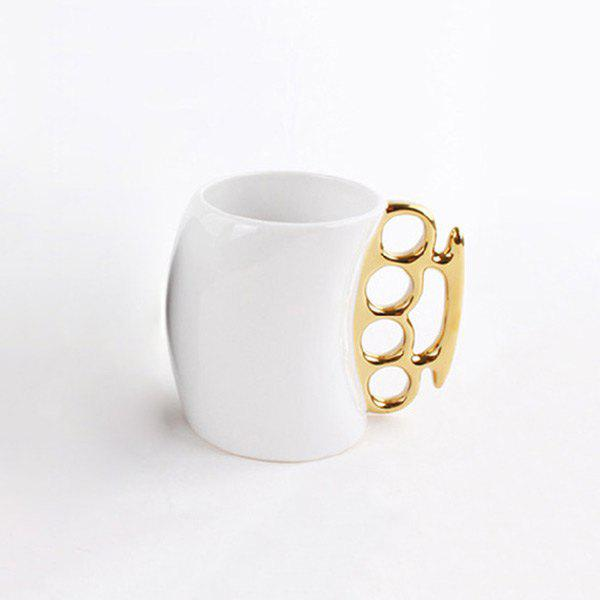 Creative Fred Friends Fist Shape Coffee Mug - WHITE/GOLDEN