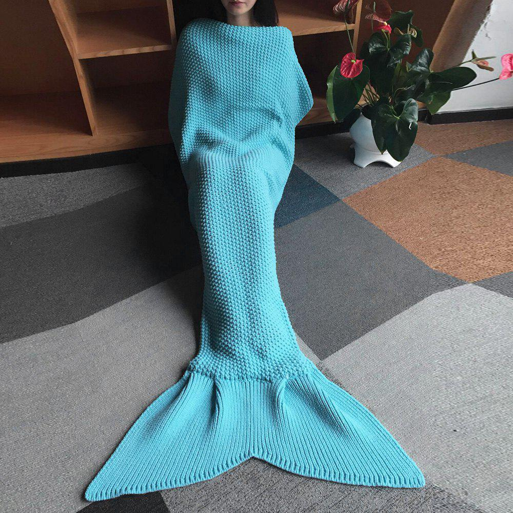 Birthday Gift Wool Knitting Fish Tail Design Blanket - LIGHT BLUE
