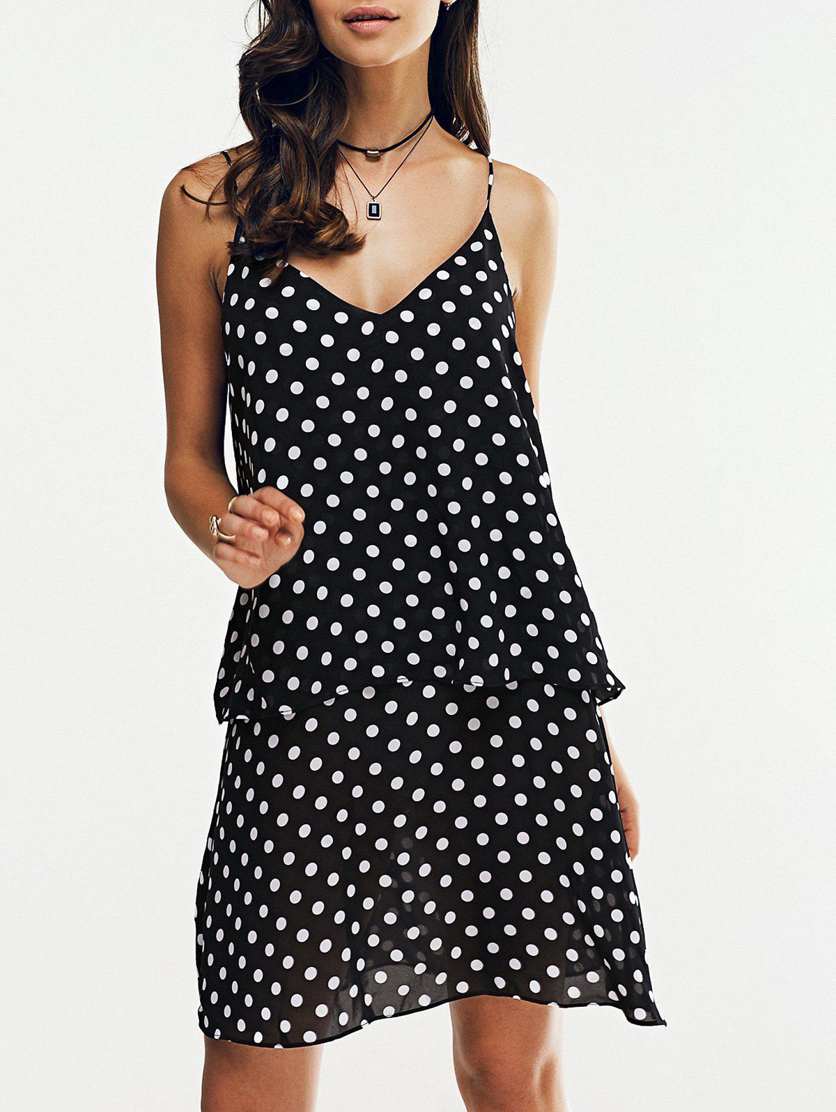 Fashionable V-Neck Spaghetti Strap Printing Flounce Dress For Woman - WHITE/BLACK XL