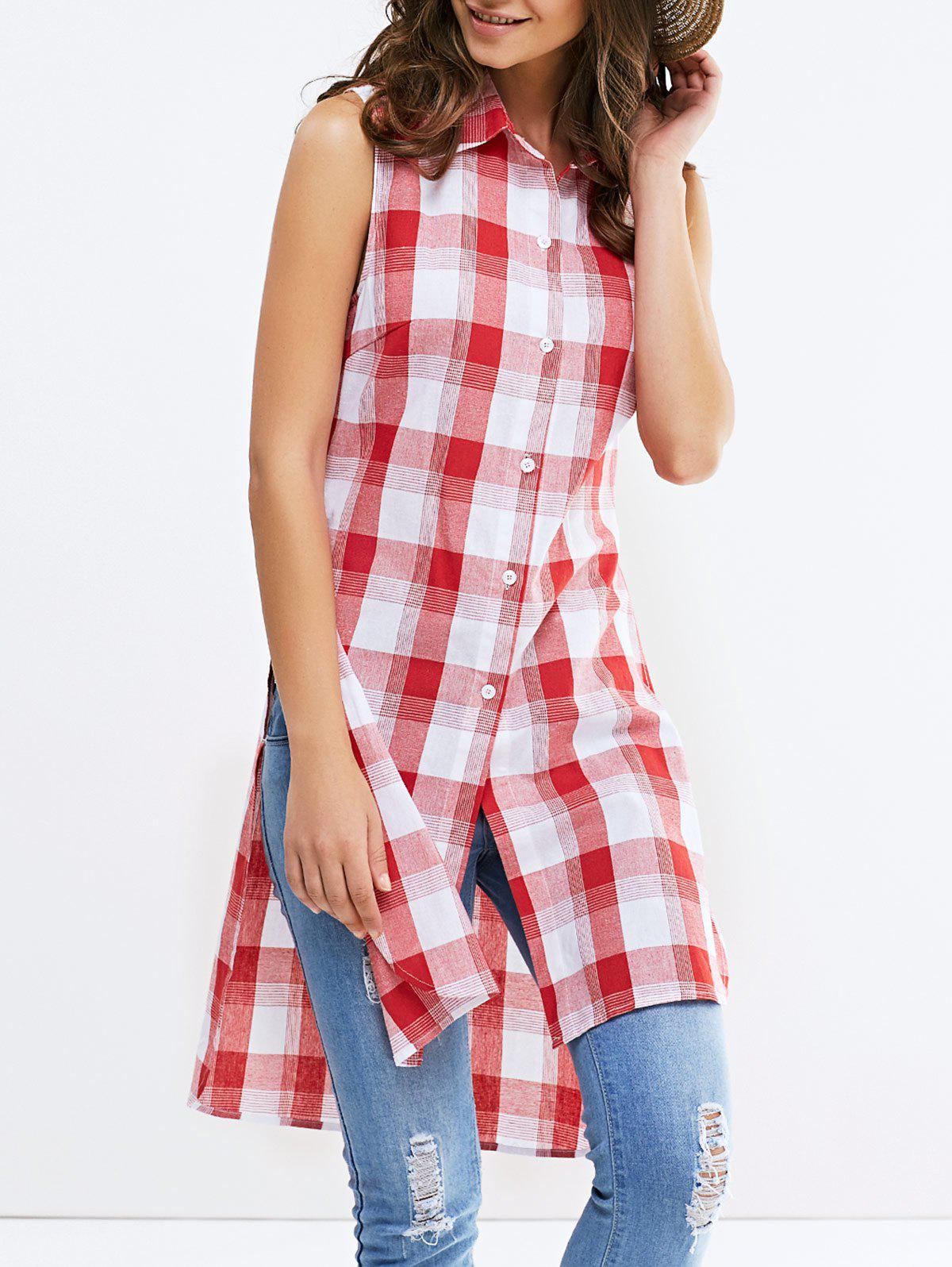 Fashionable Shirt Collar Broadside Slit Sleeveless Lattice Shirt For Woman - RED/WHITE XL