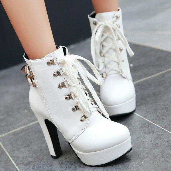 Buckle Chunky Heel Lace-Up Short Boots - WHITE 38