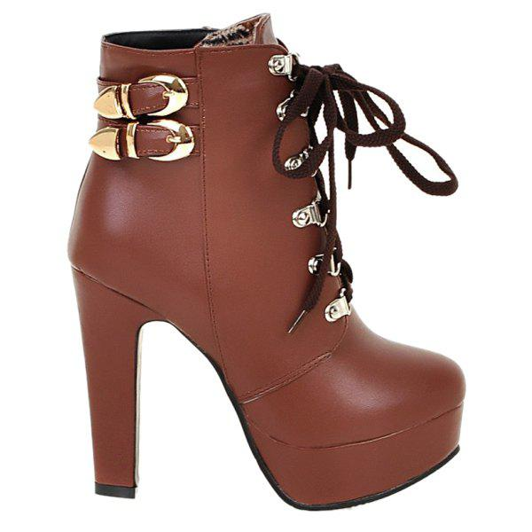 Buckle Chunky Heel Lace-Up Short Boots - BROWN 37