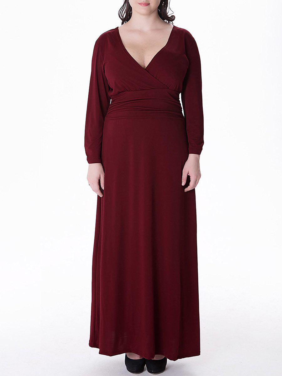 Plus Size Long Sleeve V Neck Maxi Prom Dress - WINE RED 6XL