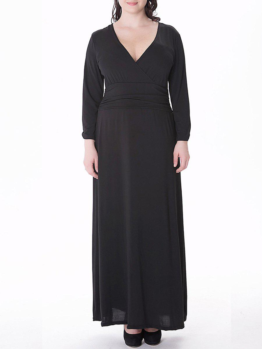 Plus Size Long Surplice Formal Dress with Sleeves велосипед orbea orca dama gfr 2013