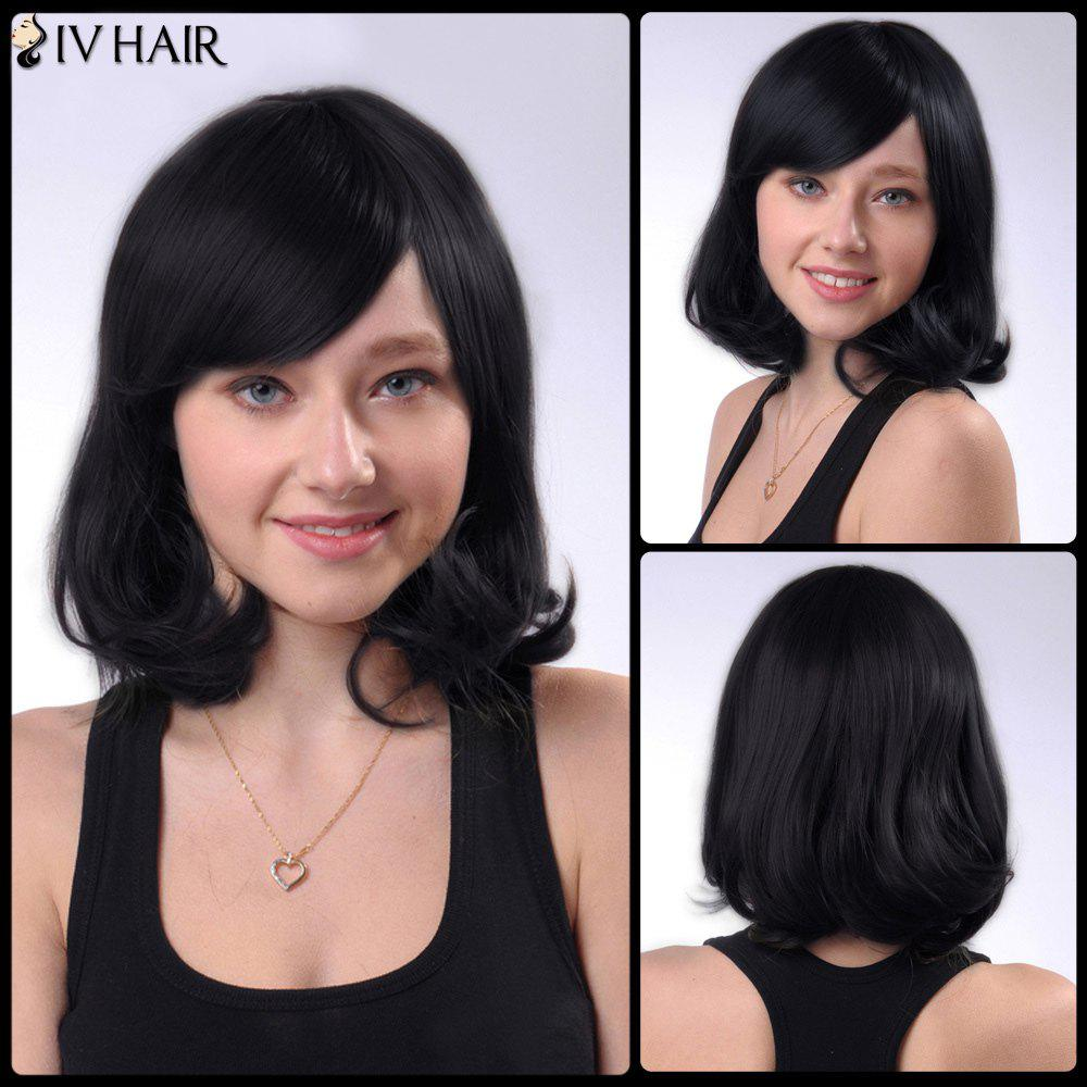Shaggy Short Wave Human Hair Side Bang Capless Siv Hair Wig - JET BLACK