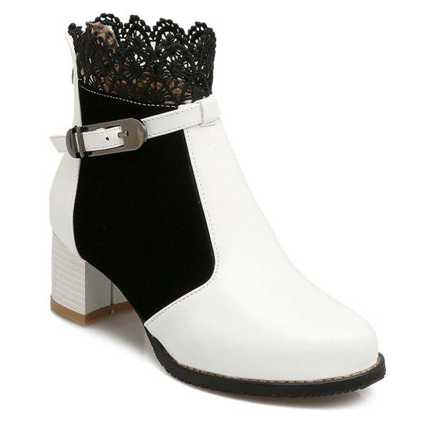 Chunky Heel Lace Splicing Short Boots - WHITE 39