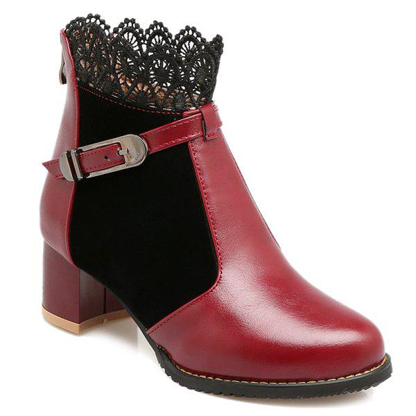 Chunky Heel Lace Splicing Short Boots - WINE RED 39
