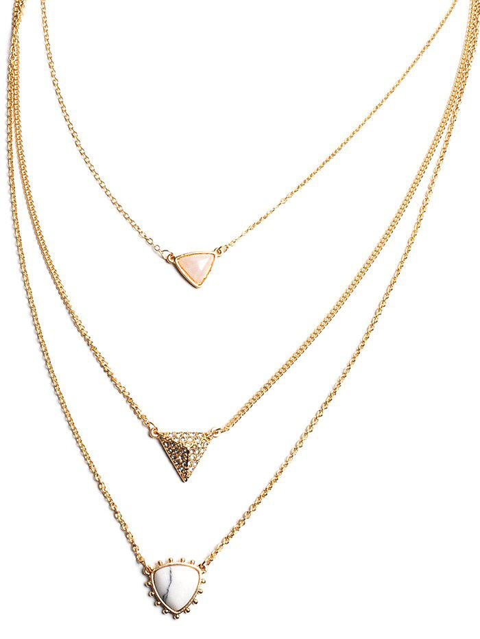 Faux Opal Triangle Layered Pendant Necklace - WHITE