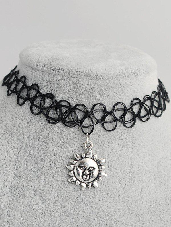 Sun Shape Hollowed Tattoo Choker - BLACK