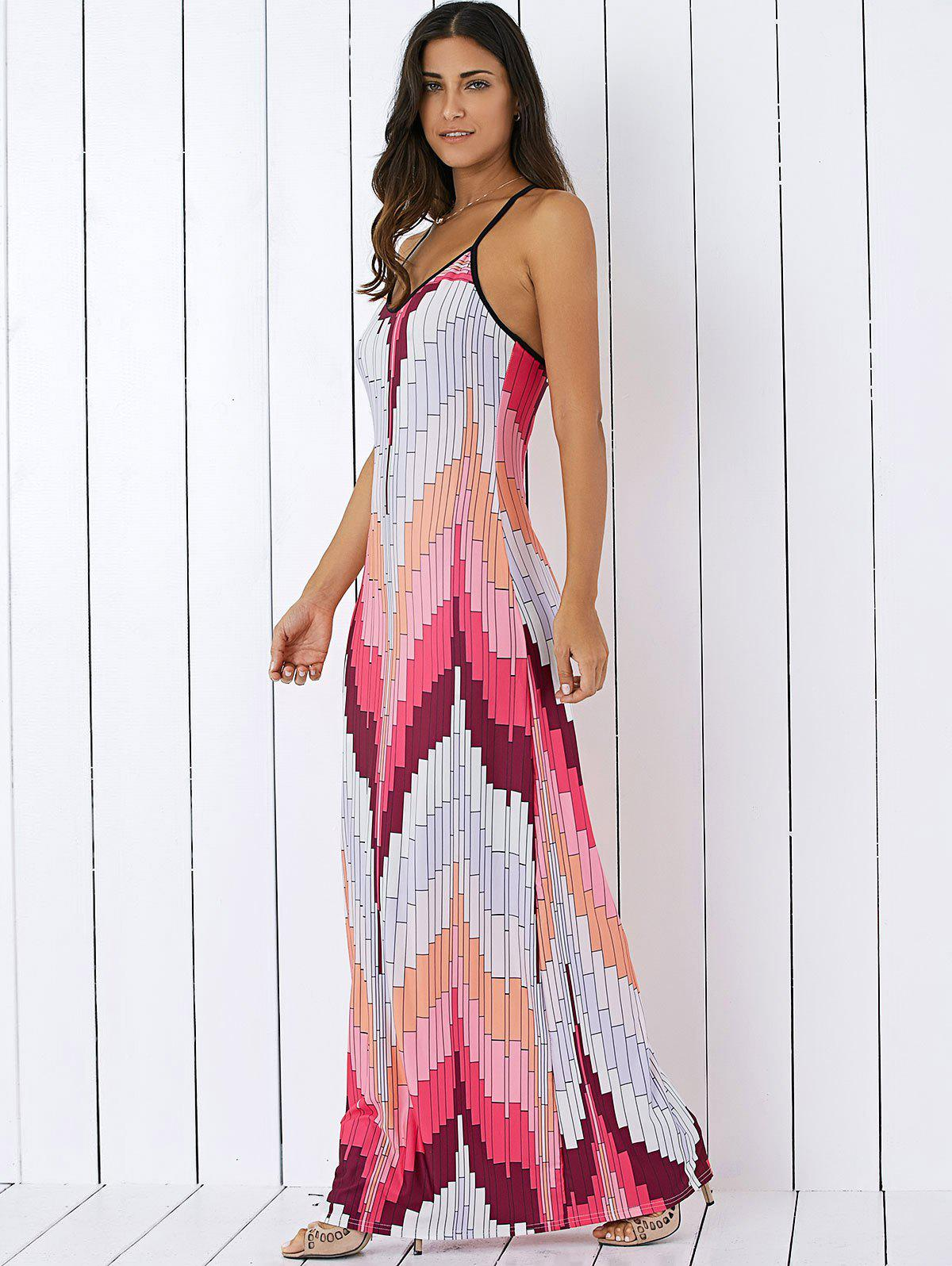 Printed Pattern Summer Long Slip Dress - Rose Clair S