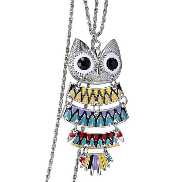 Owl Alloy Glaze Pendant Sweater Chain - COLORMIX