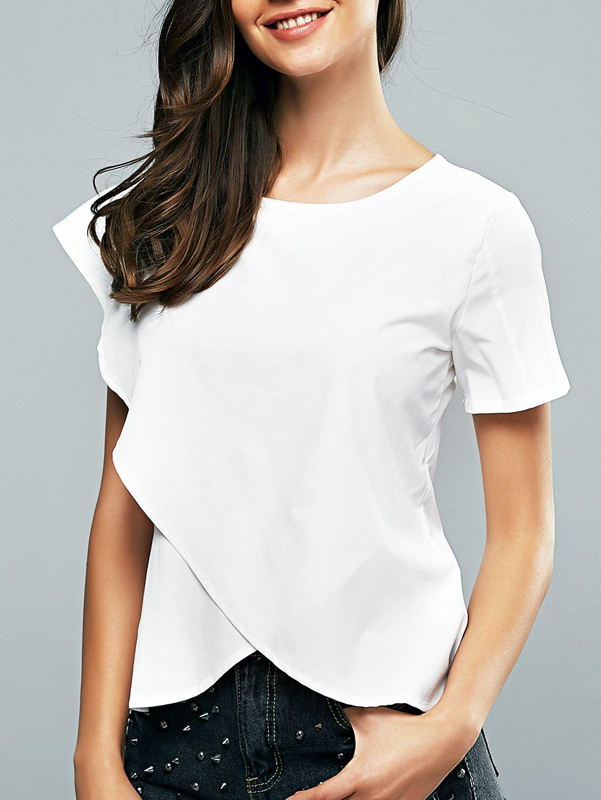 Surplice Round Neck Asymmetrical Sleeve Blouse - WHITE XL