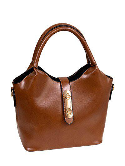 PU Leather Double Hasp Design Tote Bag - BROWN