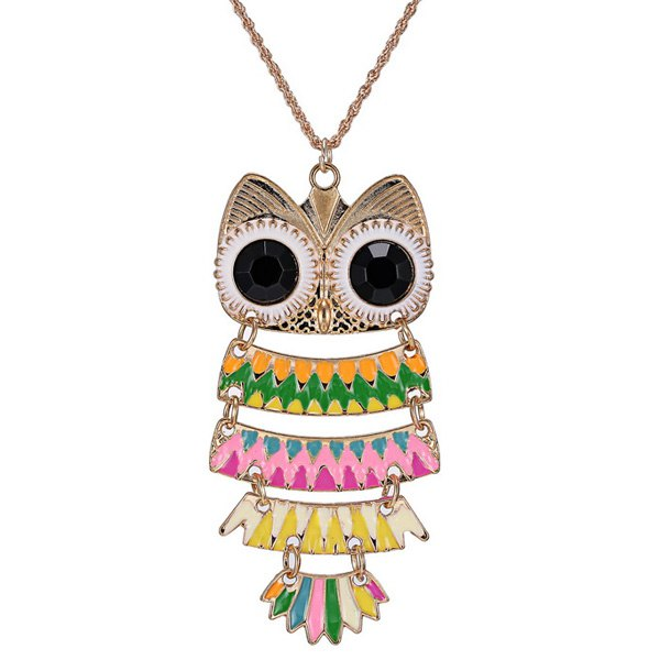 Owl Glaze Pendant Hollow Out Sweater Chain - PINK