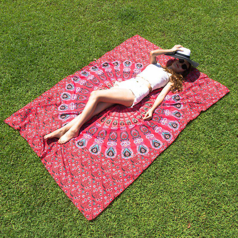 Ethnic Style Red Mandala Yoga Mat Gypsy Cotton Tablecloth Beach Throw Shawl Wrap Scarf - RED