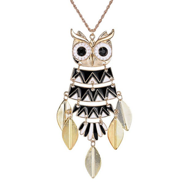 Alloy Owl Glazed Leaf Pendant Sweater Chain - BLACK