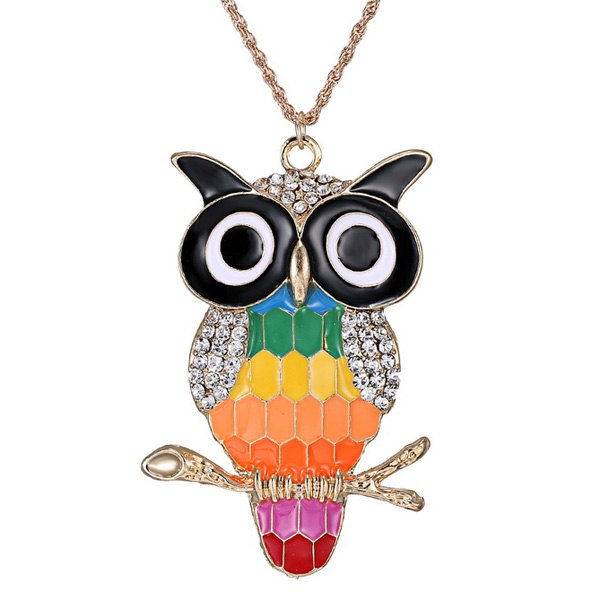 Rhinestone Glazed Owl Branch Pendant Sweater Chain - COLORMIX