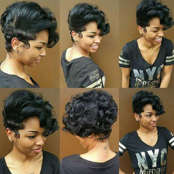 Fluffy Pixie Cut Short Side Bang Curly Synthetic Wig