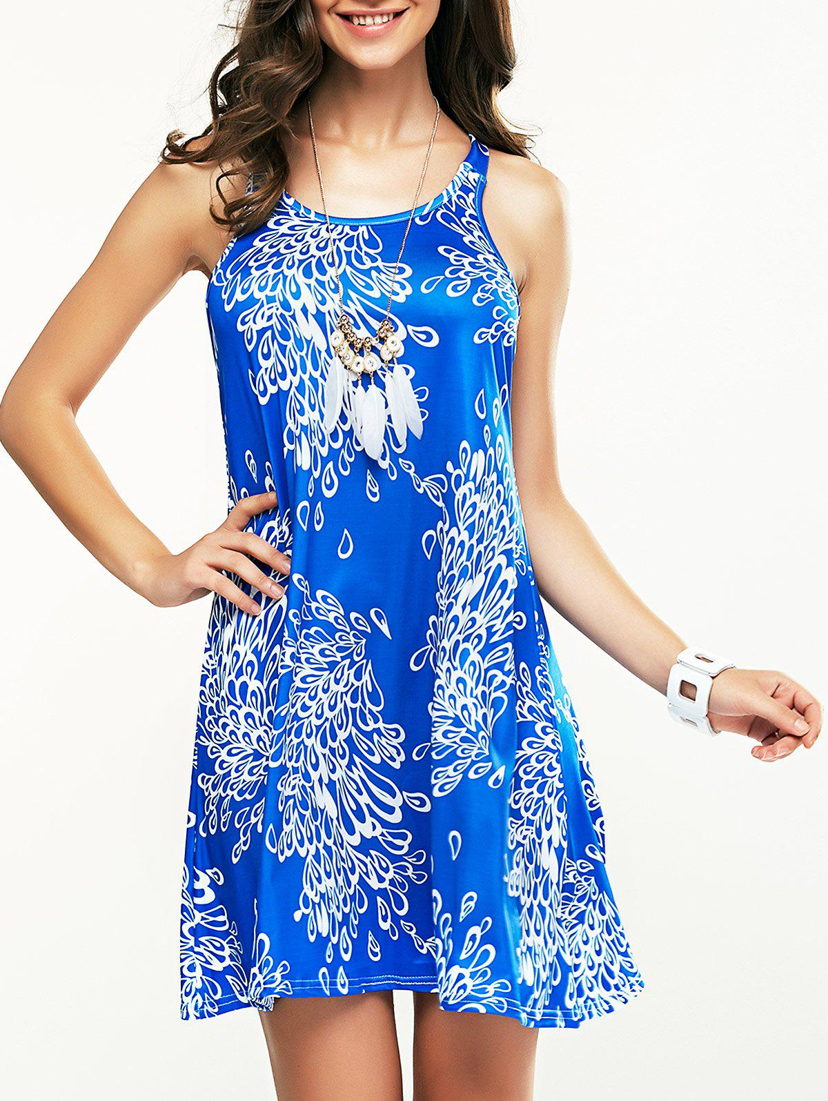 Criss-Cross Back Bowknot Tie Printed Mini Dress - BLUE XL