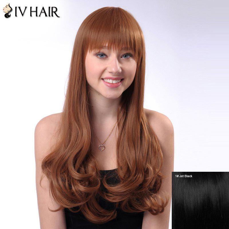 Shaggy Long Wavy Siv Hair Capless Full Bang Human Hair Wig - JET BLACK
