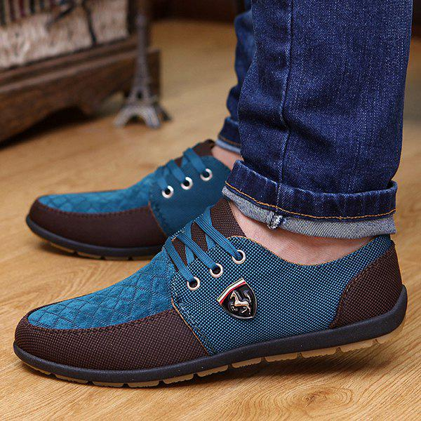 Checked Color Block Casual Shoes - BLUE 43