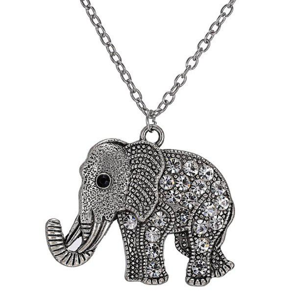 Rhinestoned Elephant Engraved Pendant Sweater Chain - SILVER