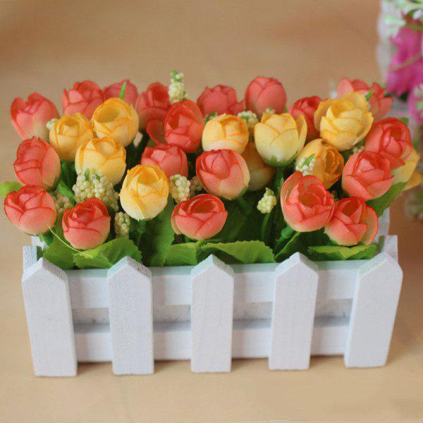 Home Decor Bonsai Fake Rose Artificial Flower Set - ORANGE