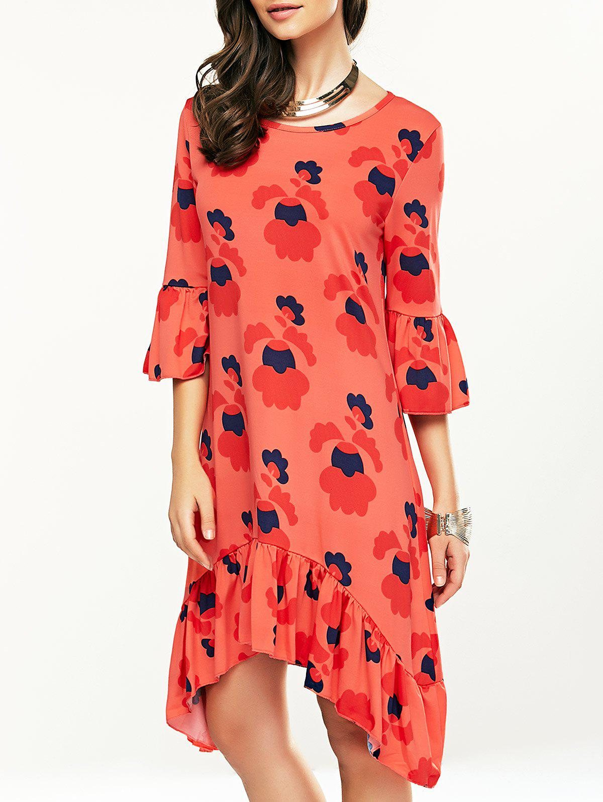 Printed Flounce Trim Asymmetrical Casual Dress flounce trim one shoulder asymmetrical belted dress