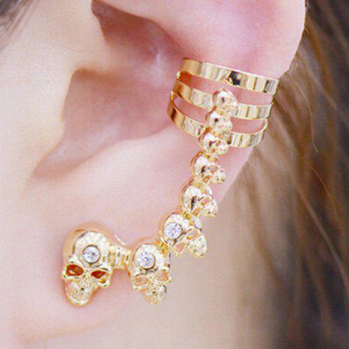 Pair of Skull Rhinestone Ear Cuffs - GOLDEN
