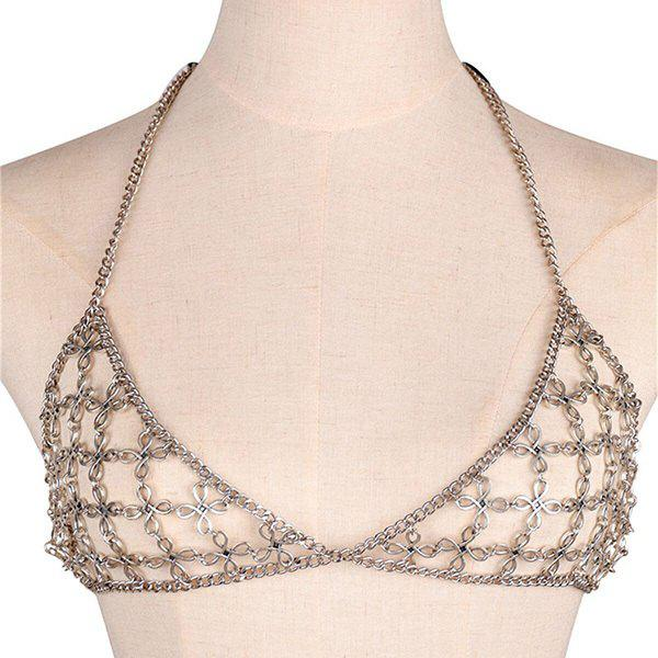 Hollow Out Bra Flower Body Chain - SILVER