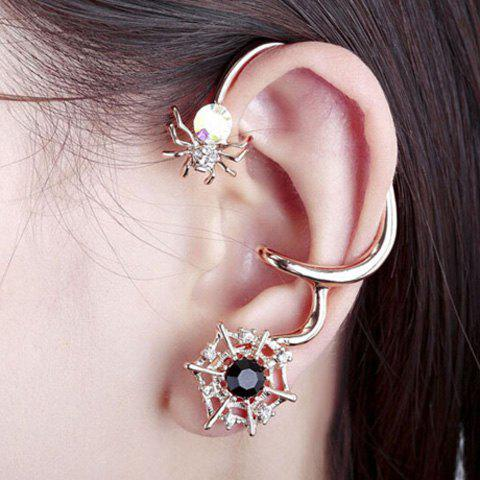 Pair of Rhinestone Alloy Spider Earrings - GOLDEN