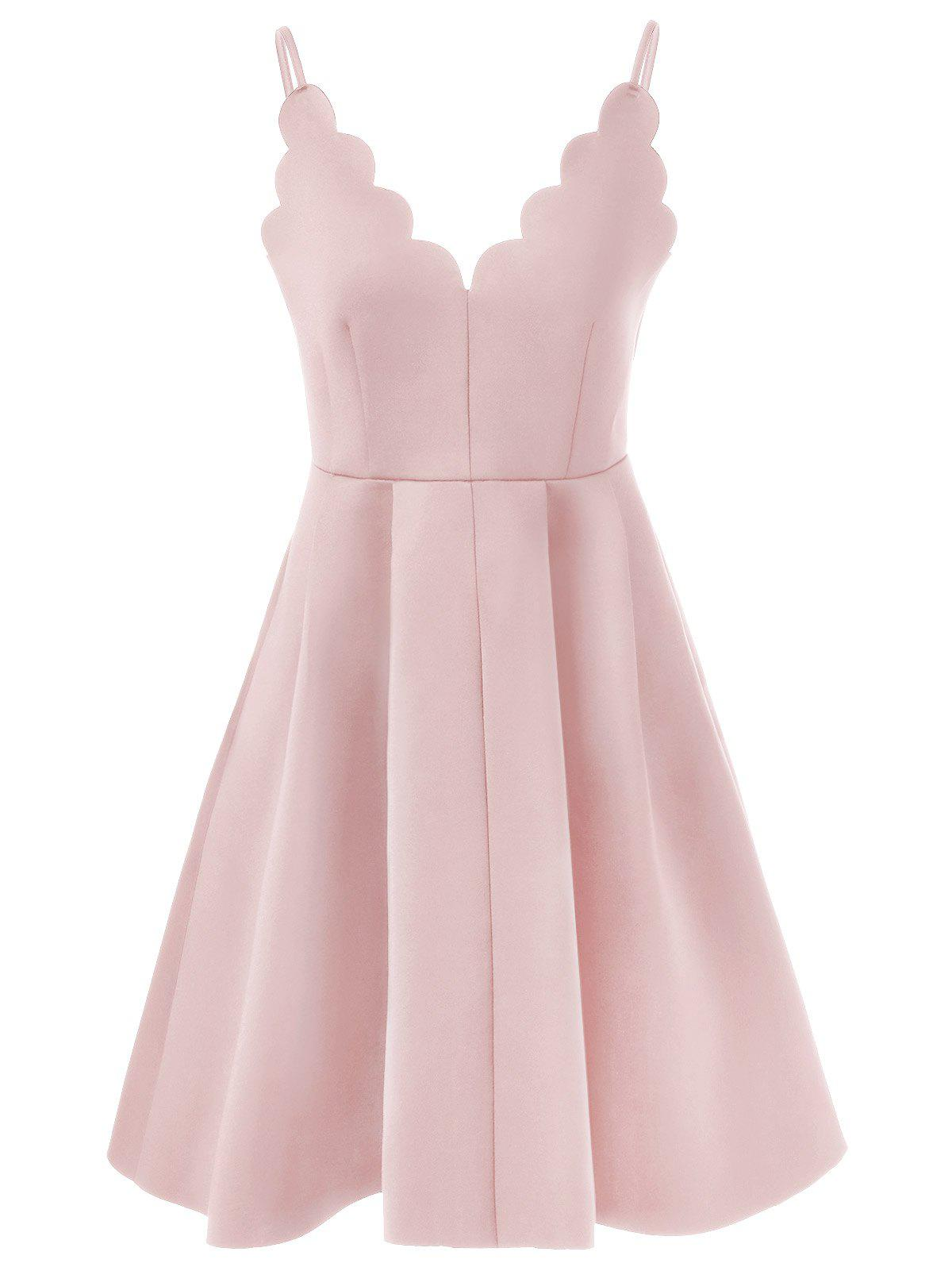 Scalloped A Line Flare Cocktail Slip Dress - NUDE PINK M