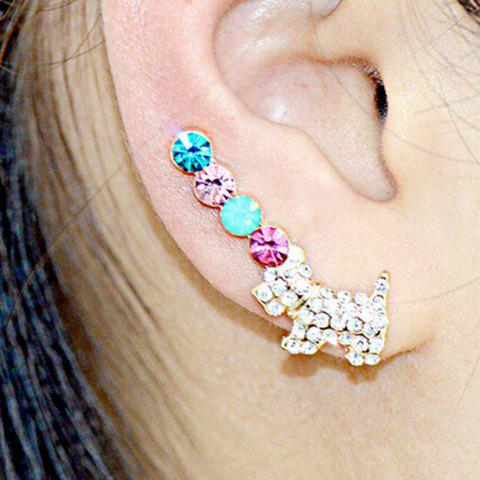 Pair of Rhinestoned Alloy Puppy Earrings - GOLDEN