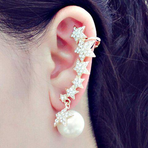 ONE PIECE Rhinestone Star Faux Pearl Ear Cuff - GOLDEN