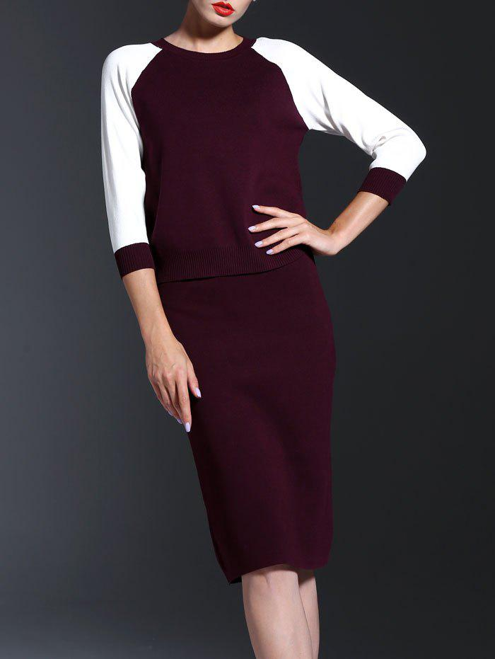 3/4 Sleeve Splicing Knitwear + High Waist Slimming Skirt Twinset - WINE RED L