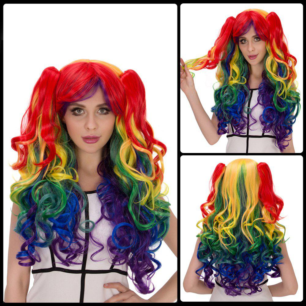 Offbeat Rainbow Film Character Long Fluffy Side Bang Wavy With Bunches Cosplay Wig - COLORMIX